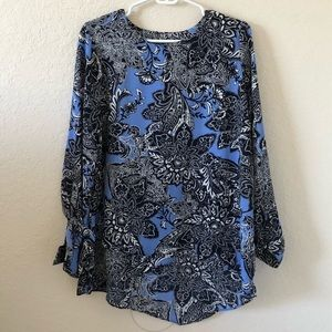 The Limited Blue Paisley Patterned Blouse